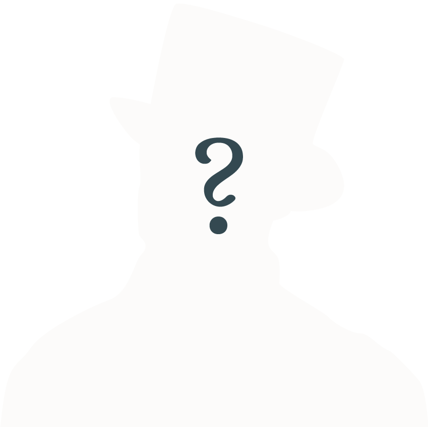 silouhette of a victorian male figure in a hat with a question mark in the centre